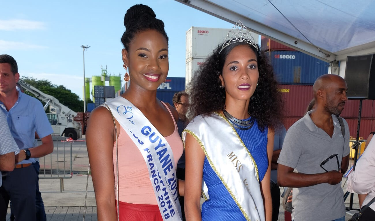 Ms Ruth Briquet as Miss Guyane 2018 and Ms Sarah Ringuet as Miss Kourou 2018